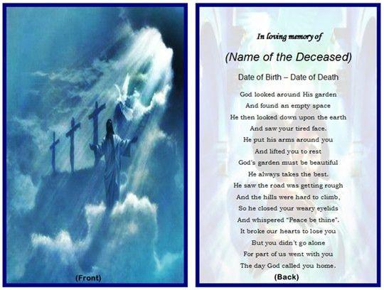 Example of Christian Memorial Card: Jesus