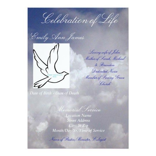 Celebration of Life Funeral Invitation/Program Card | Zazzle.com