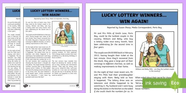 Lottery Win Newspaper Report Writing Sample - English, text