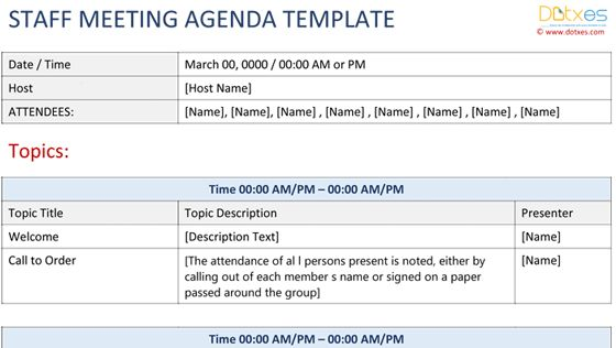 Staff Meeting Agenda Template - Write an Effective Agenda