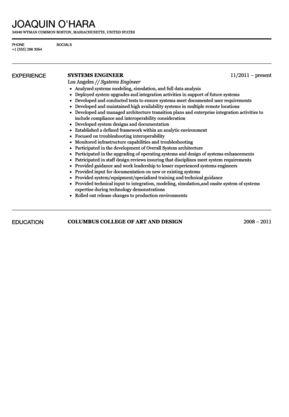 Systems Engineer Resume Sample   Velvet Jobs