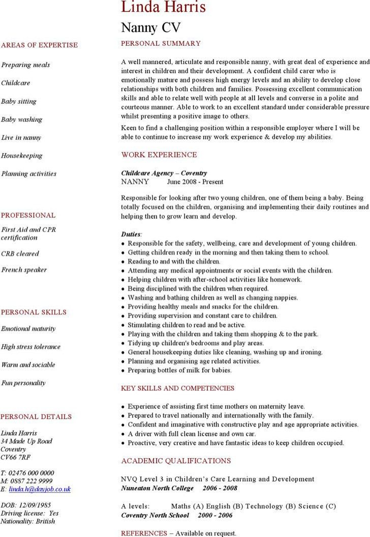 Nanny Resume Template. Full Time Nanny Resume Download Free Resume ...