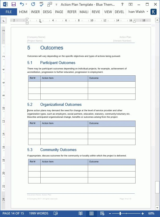 Action Plan Template (MS Word+ 7 Excels)