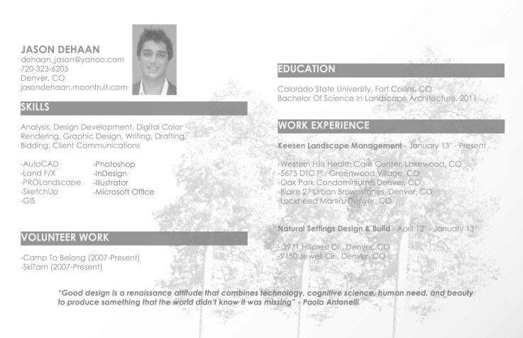 Landscape Resume [Template.billybullock.us ]
