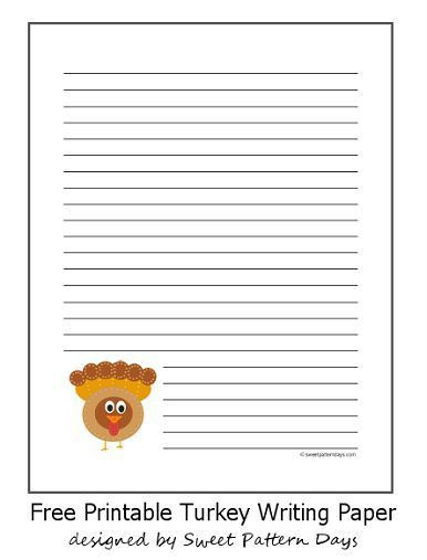Cute November Lined Writing Paper | Stationery Printables ...
