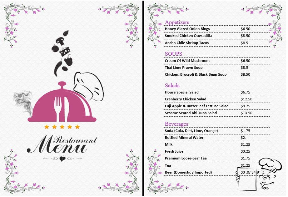 7 Free Sample Office Menu Templates – Printable Samples