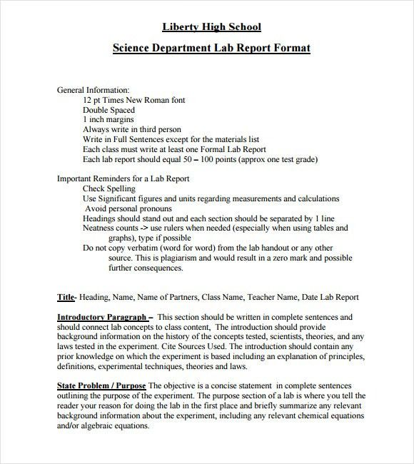 Sample Lab Report - 9+ Documents In PDF, Word
