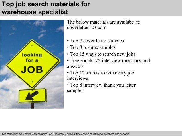 Warehouse specialist cover letter