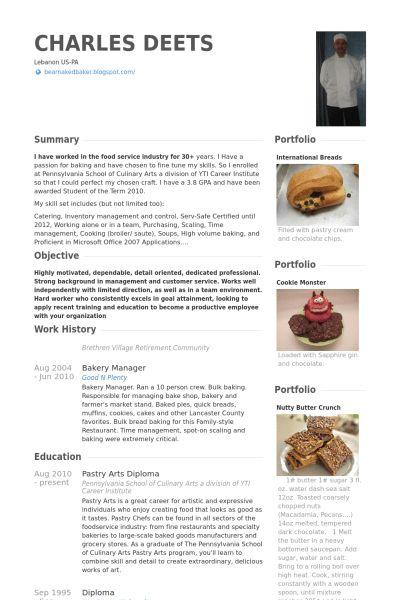 Baker Resume samples - VisualCV resume samples database