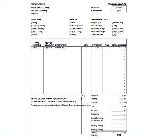 Proforma Invoice templatess XLS Format , Microsoft Excel Invoice ...