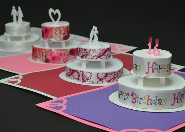 Birthday or Wedding Cake Pop Up Card Template - Creative Pop Up Cards