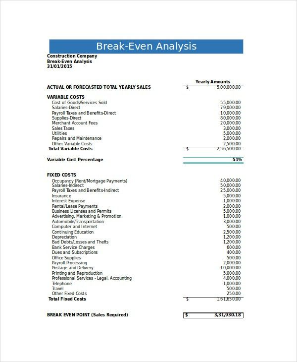 Break Even Analysis - 10+ Free Excel, PSD Documents Download ...
