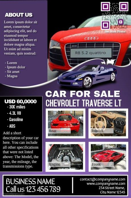 Car deal flyer: Contains both car listing and business ...