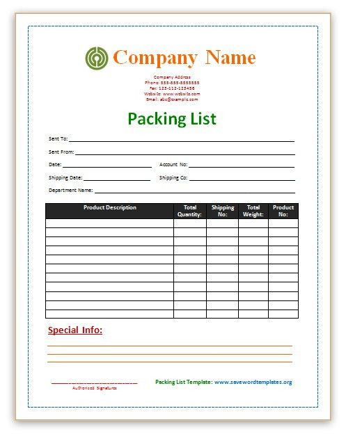 Packing List Template | Print Paper Templates