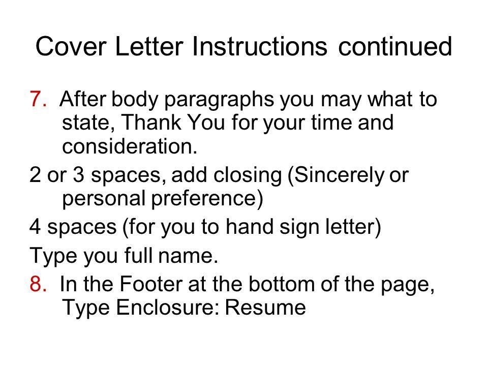 Spacing in cover letter