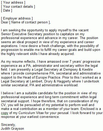 Sample Covering Letter for Secretaries & PAs