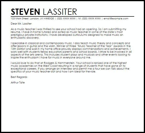 Music Teacher Cover Letter Sample   LiveCareer
