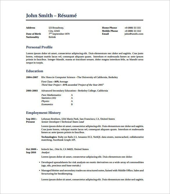 Latex Resume Template – 8+ Free Word, Excel, PDF Free Download ...