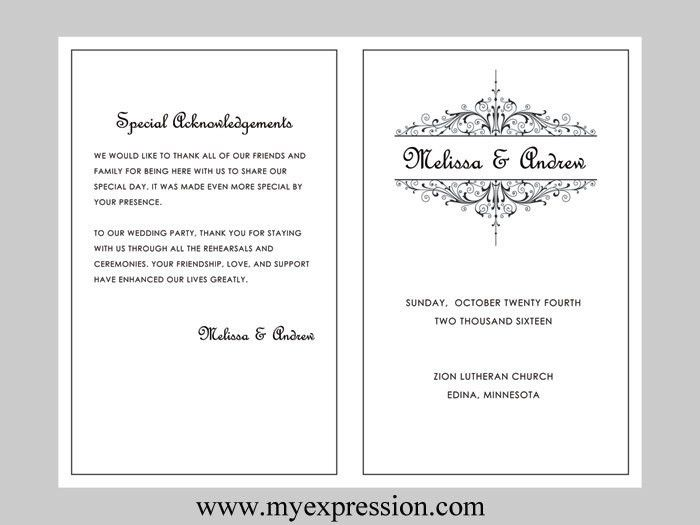 Wedding Program Template Vintage Filigree Instant Download