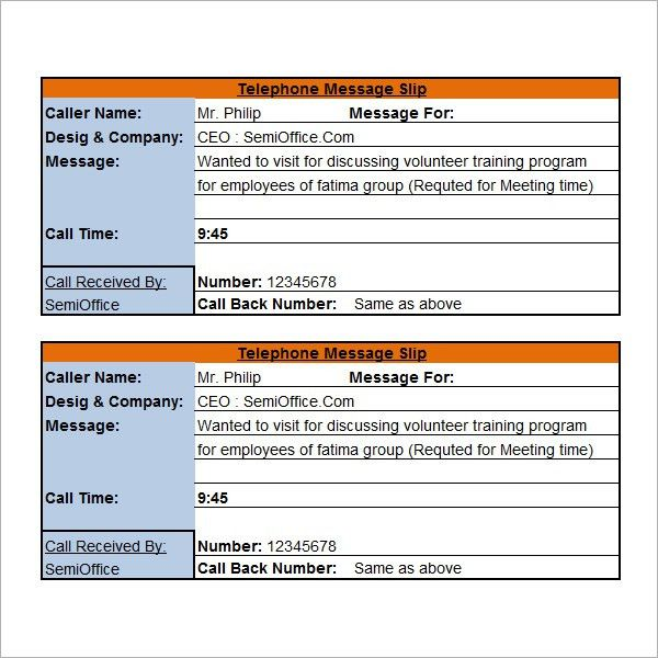 15 Phone Message Templates - Excel PDF Formats