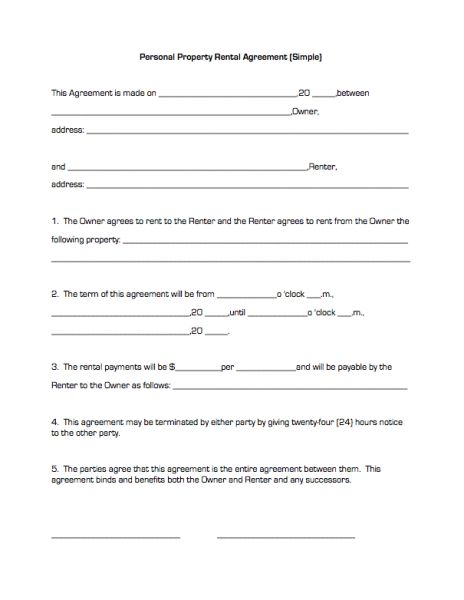 Simple Rental Contract Simple Rental Agreement 34 Examples In Pdf – Simple Rental Agreement Example