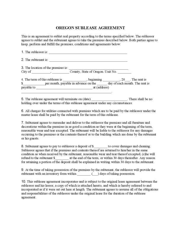 Oregon Sublease Agreement | LegalForms.org