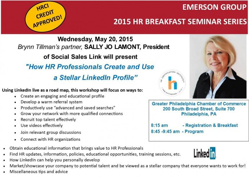 """HRCI Credit Approved Breakfast Seminar with Sally Jo LaMont - """"How ..."""