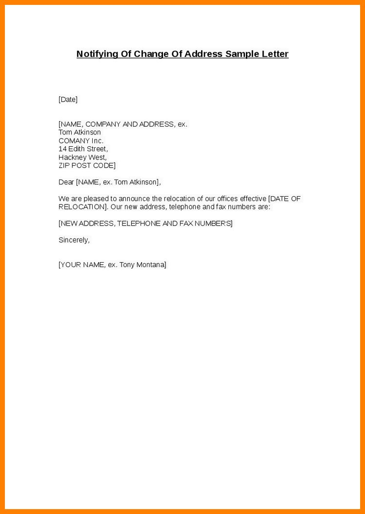 6+ change of address letter to vendors template | job resumed