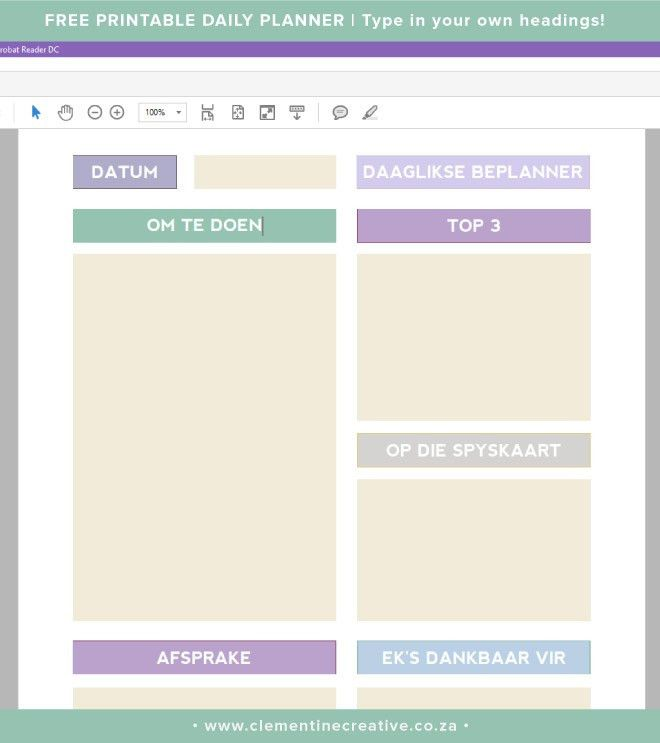 Free Printable Daily Planner Page - Clementine Creative | DIY ...
