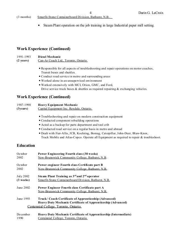Heavy Equipment Technician Resume - Contegri.com