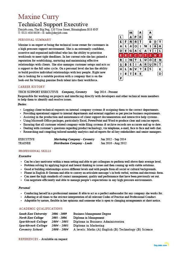 Technical support executive CV sample, how to write a eye catching ...