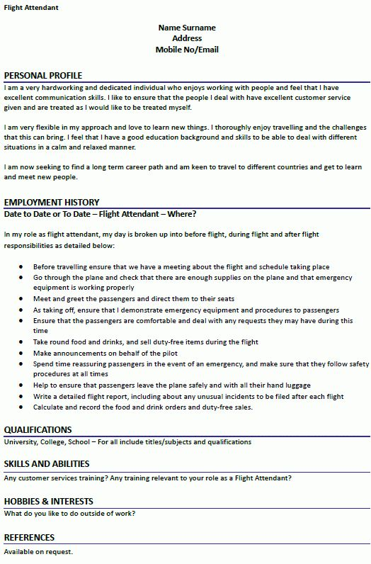 Flight Attendant CV Example - icover.org.uk