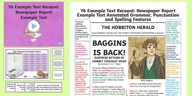Y6 Recounts: Newspaper Report Example/Model Text - Example Texts