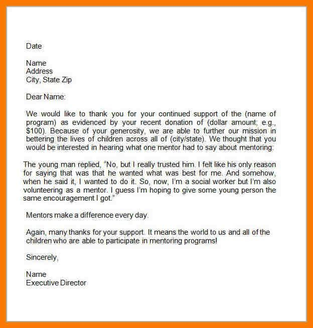Letter Of Appreciation For Donation Fundraising Thank You Letter – Thank You Letter to Mentor