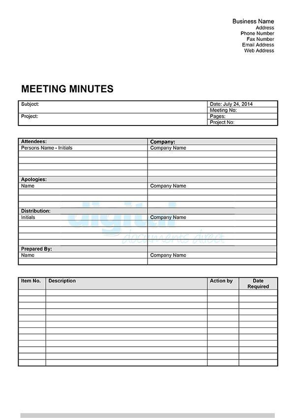 Meeting Minutes Template | Download Now | Digital Documents Direct