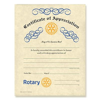 Rotary Certificate of Appreciation - Rotary Club Supplies ...