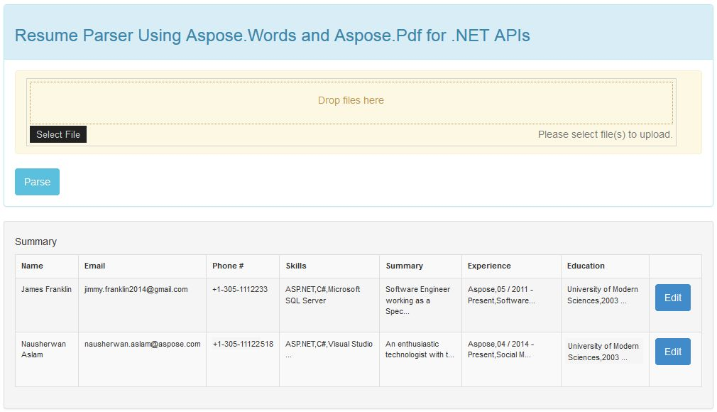 Office Resume Parser by Aspose for .NET sample in C# for Visual ...