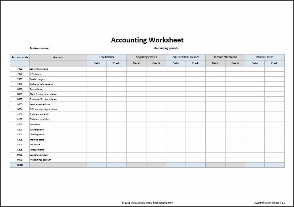 Accounting Worksheet Template | Double Entry Bookkeeping