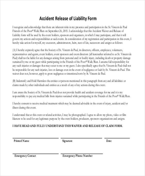 General Liability Waiver General Liability Release Of Claims Form – Liability Release Form