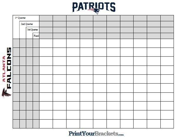 Super Bowl Templates. printable superbowl squares. 100 super bowl ...