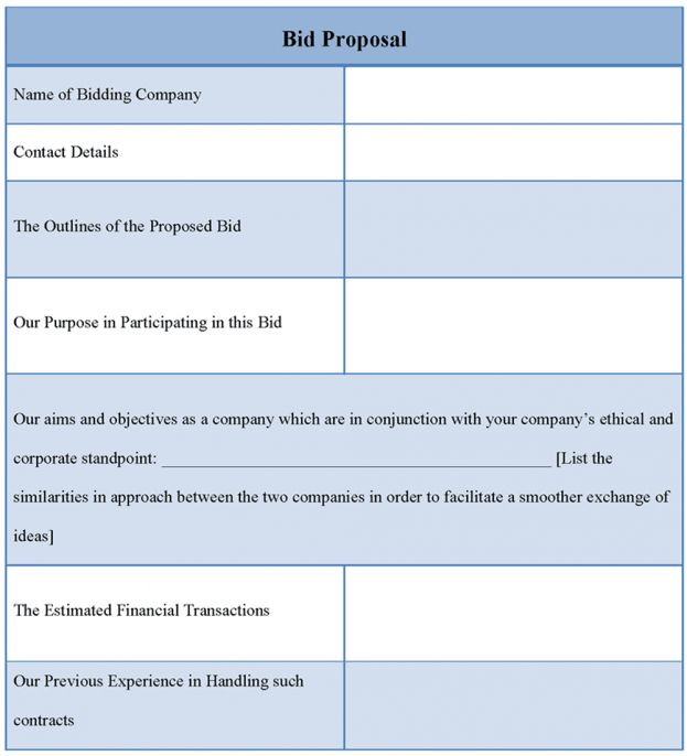 Proposal Template for Bid Example of Bid Proposal Template Sample ...