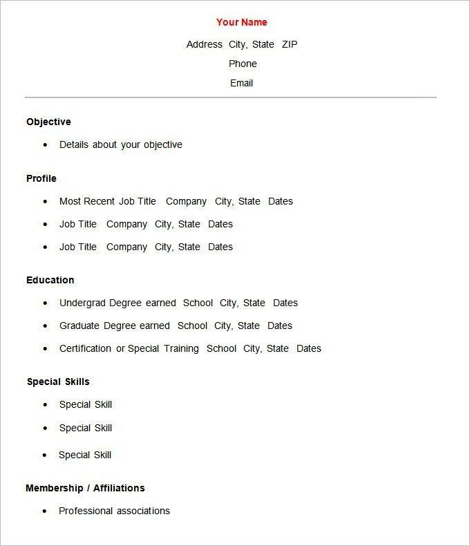 Basic Template For Resume - Best Resume Collection