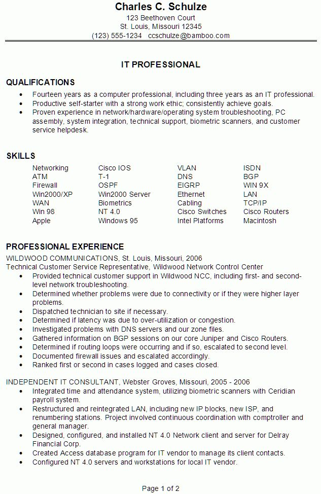 Resume Examples. Astounding 10 free download professional it ...