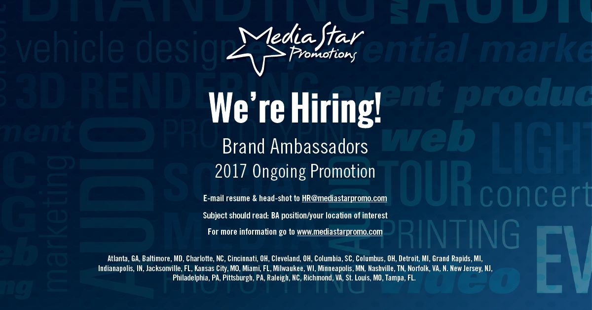 Media Star Promotions is hiring: Brand Ambassador in Colu...