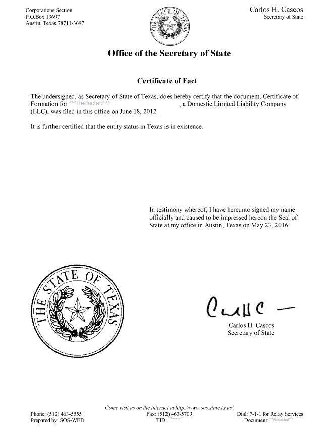 Texas Certificate of Good Standing - Certificate of Fact | Harbor ...