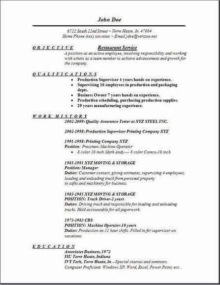 hostess resume template Hostess Sample Resume john doe - Writing ...