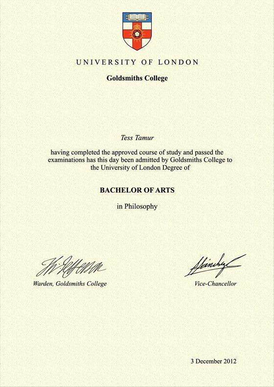 Frame for degrees from Goldsmiths College | University Degree ...