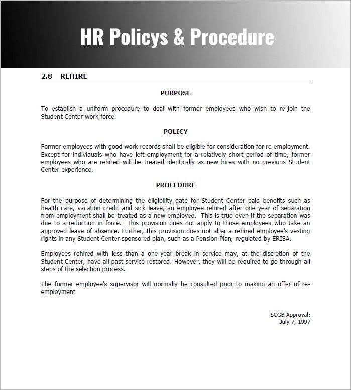 Policy And Procedure Template | ebook