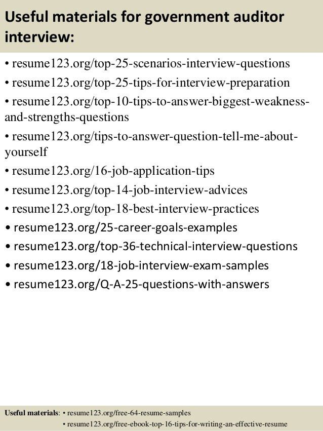 Top 8 government auditor resume samples