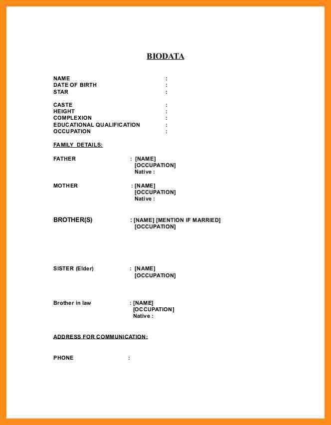 4+ bio data form in ms word | resume setups